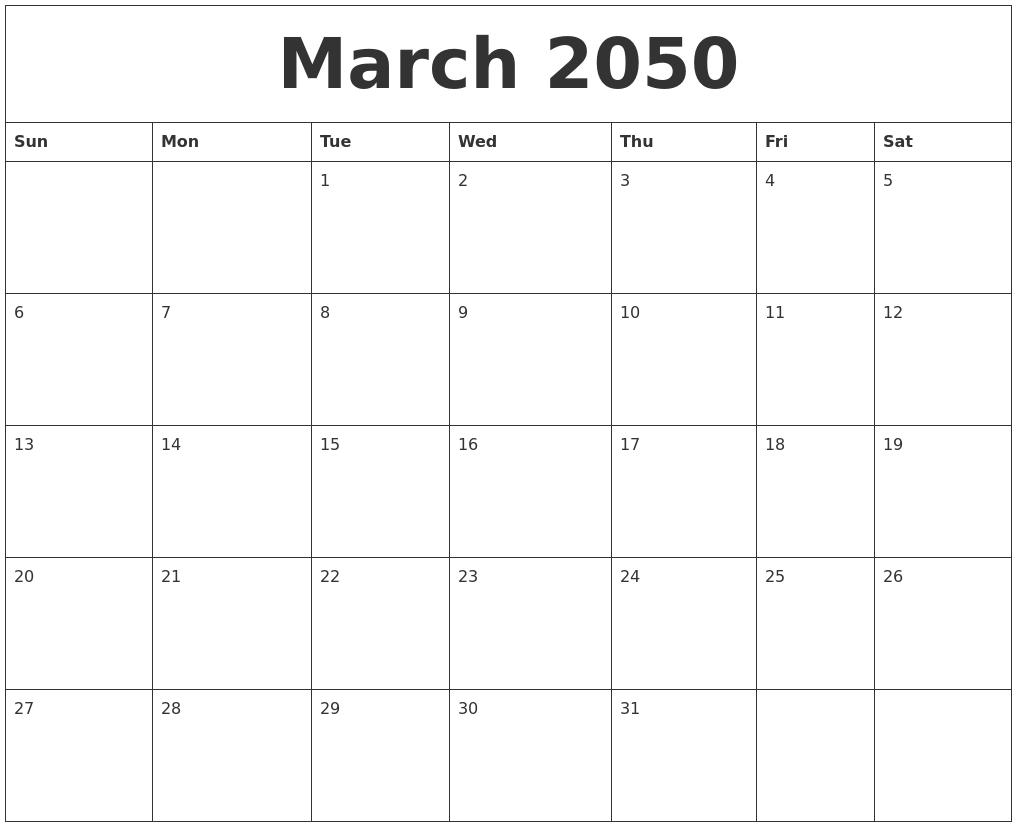 March 2050 Free Weekly Calendar