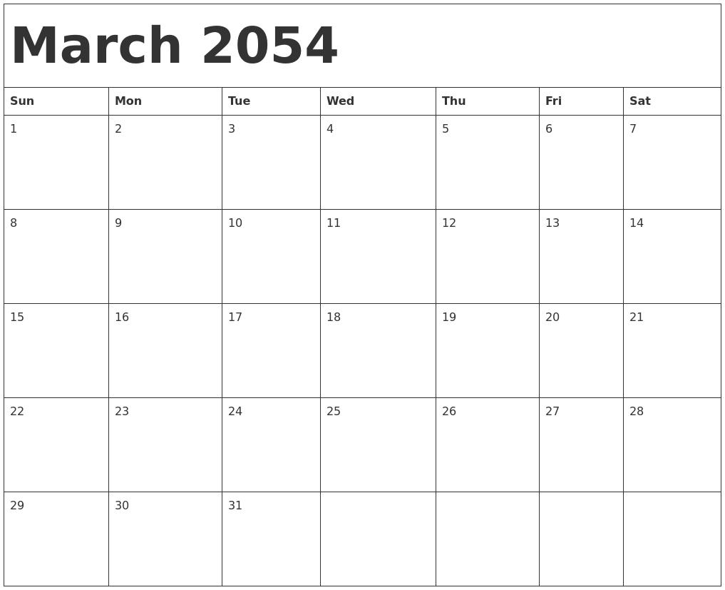 March 2054 Calendar Template