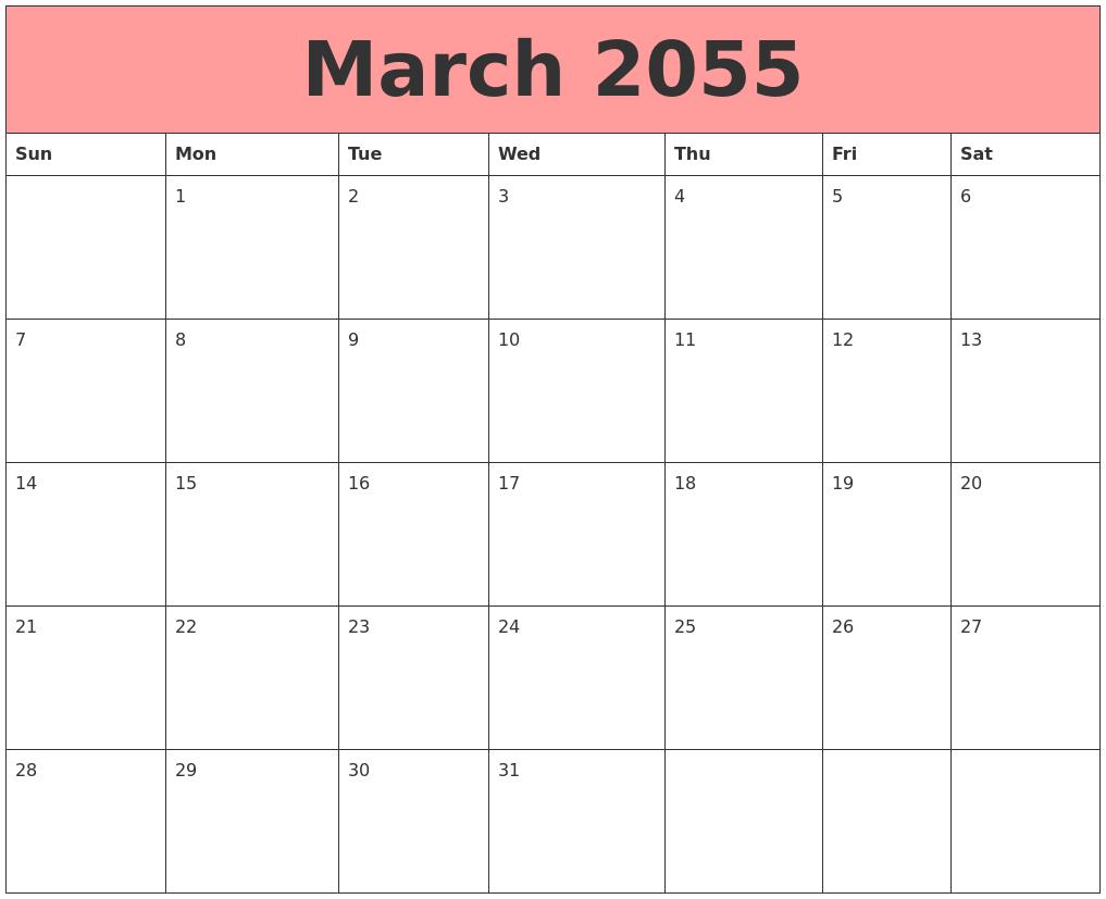 June 2055 Free Calendar Template