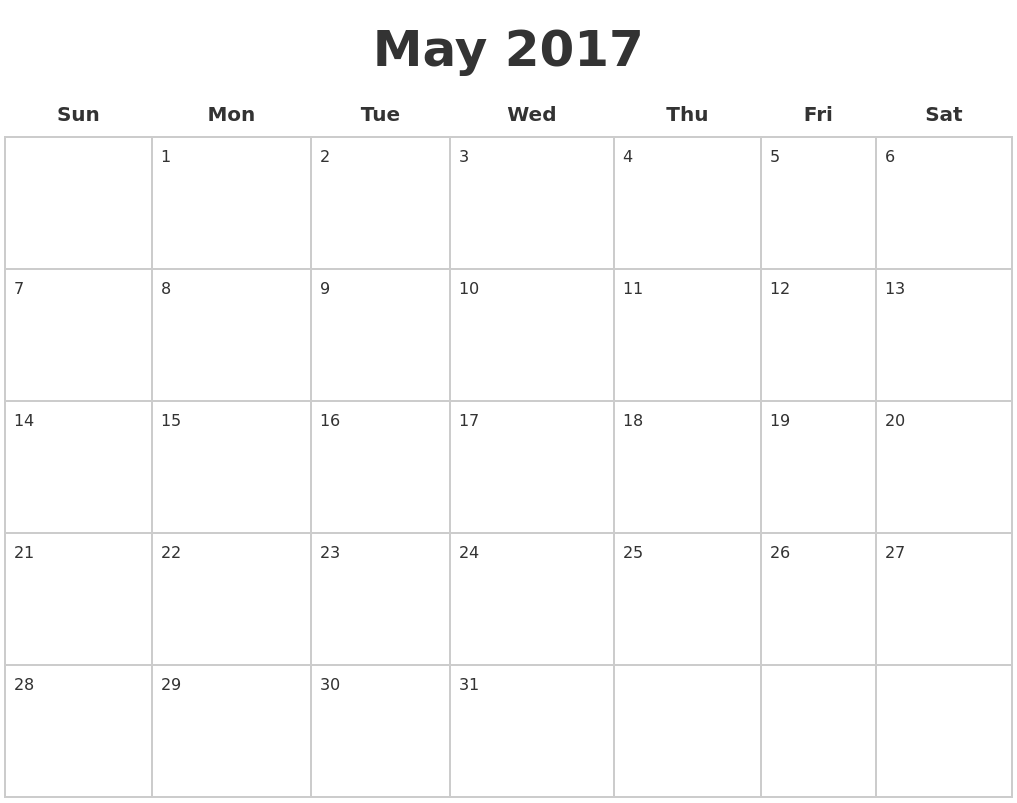 May 2017 Blank Calendar Pages
