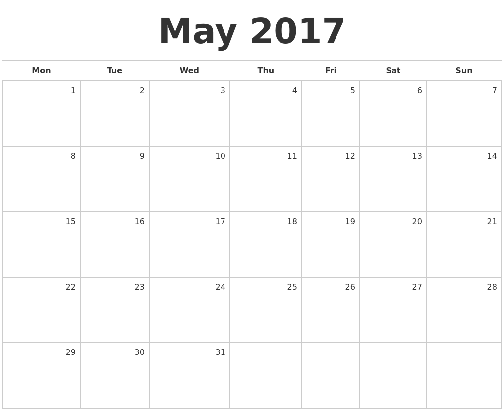 May 2017 Blank Monthly Calendar PDF's