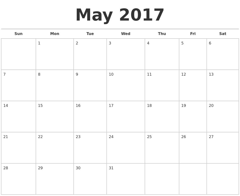 May 2017 Calendars Free