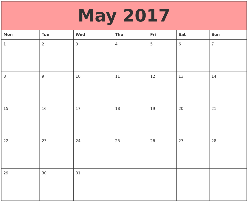 May 2017 Calendars That Work PDF's