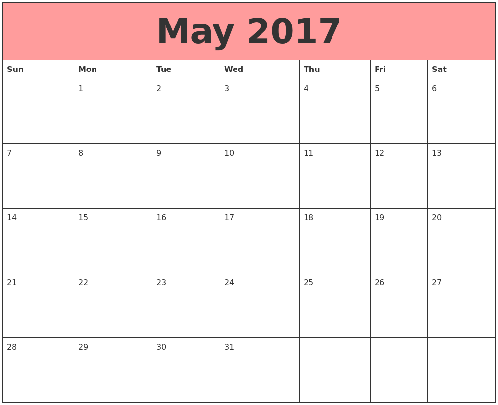 May 2017 Calendars That Work