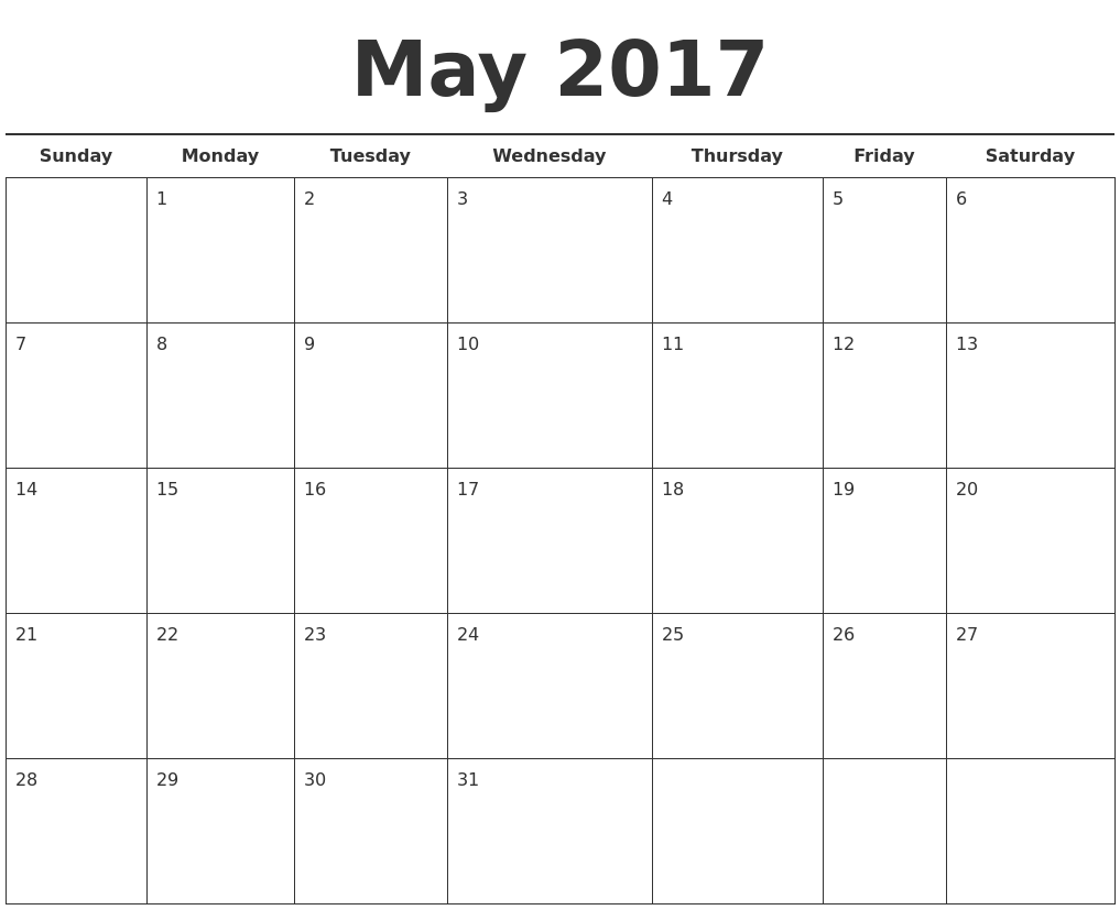 may 2017 free calendar template. Black Bedroom Furniture Sets. Home Design Ideas