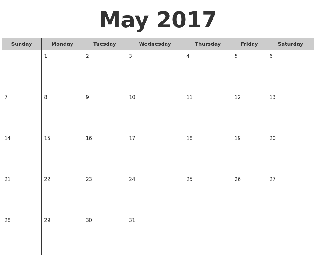 Monthly Calendar May : May free monthly calendar
