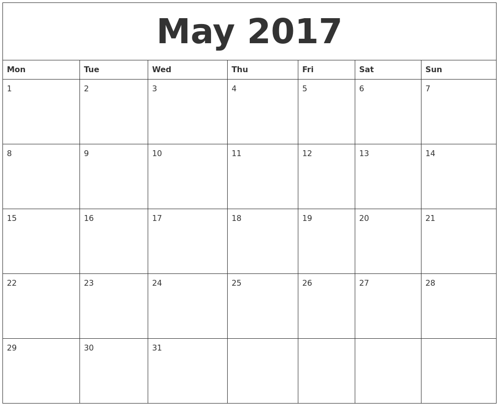 Monthly Calendar Monday Start : May free printable monthly calendar