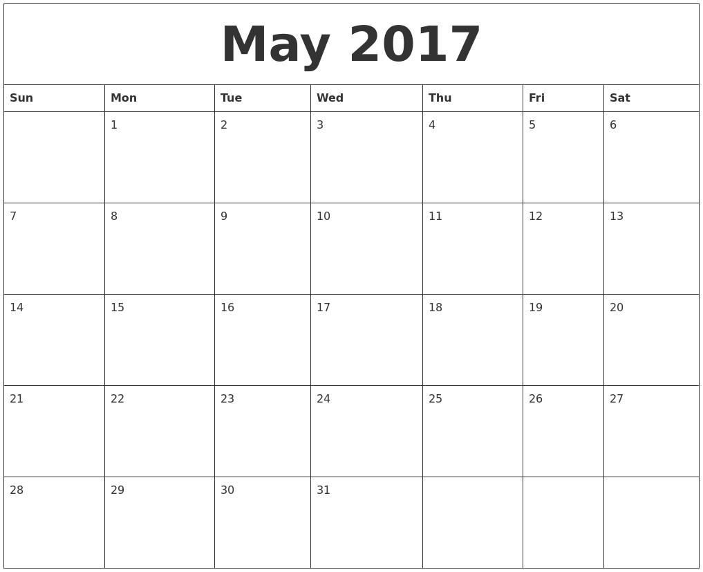 May 2017 Month Calendar Template