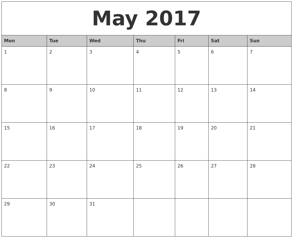 Monthly Calendar Monday Start : May monthly calendar printable