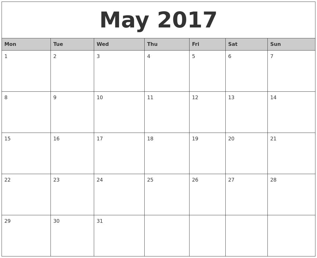 Calendar May Monday : May monthly calendar printable