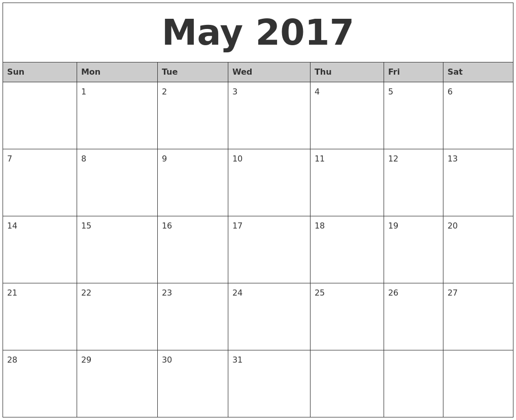 May 2017 Monthly Calendar Printable