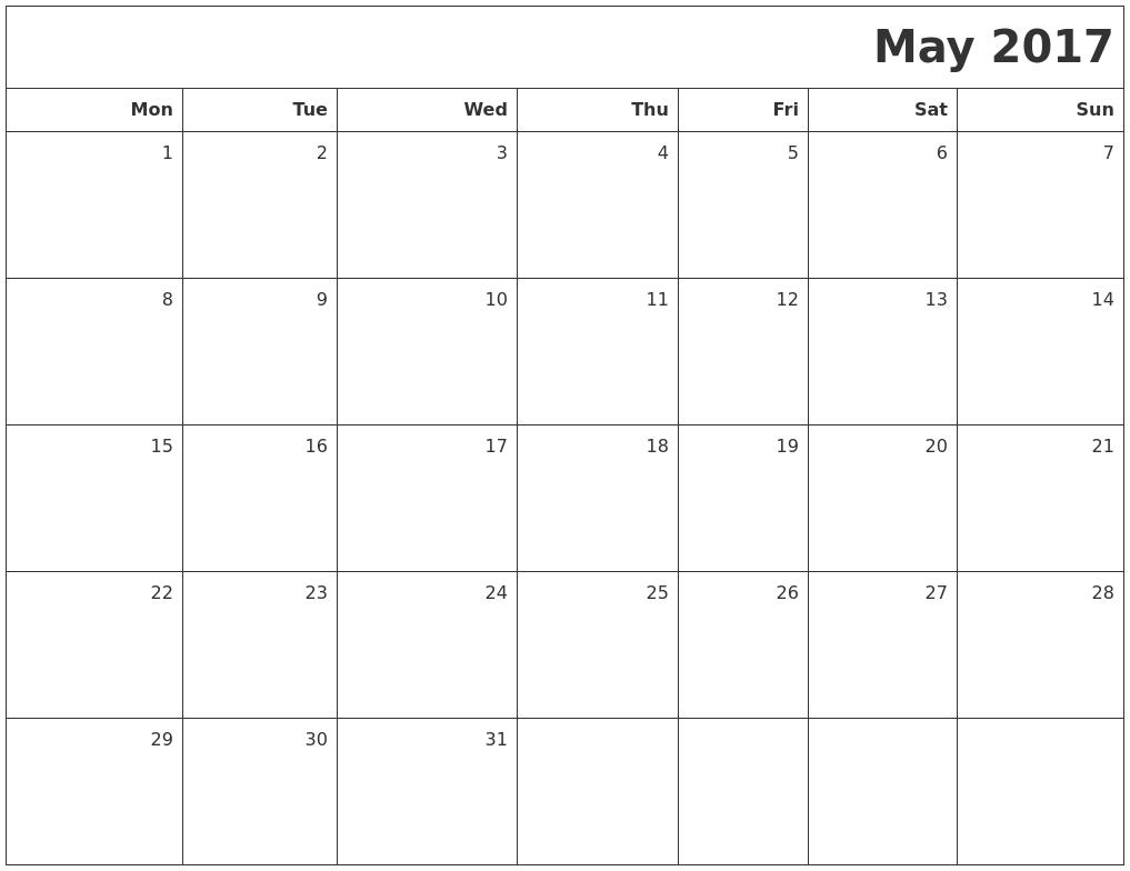 Calendar May Monday : May printable blank calendar