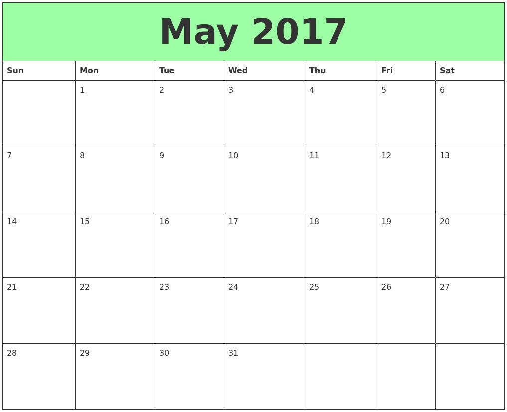 May 2017 Printable Calendars
