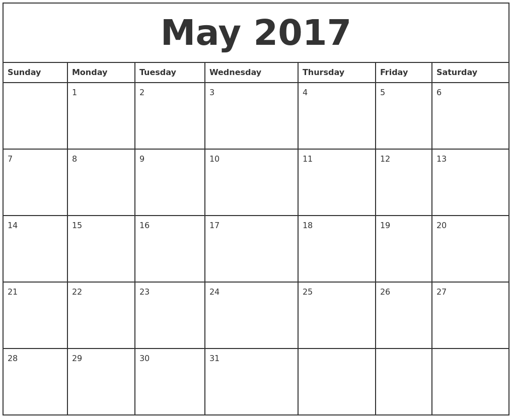 May 2017 Printable Monthly Calendar PDF's