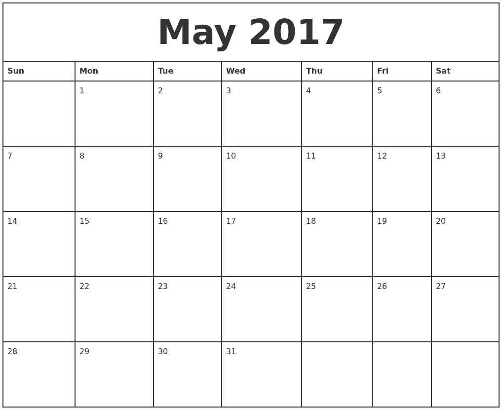 May 2017 Printable Monthly Calendar – Printable Monthly Calendars