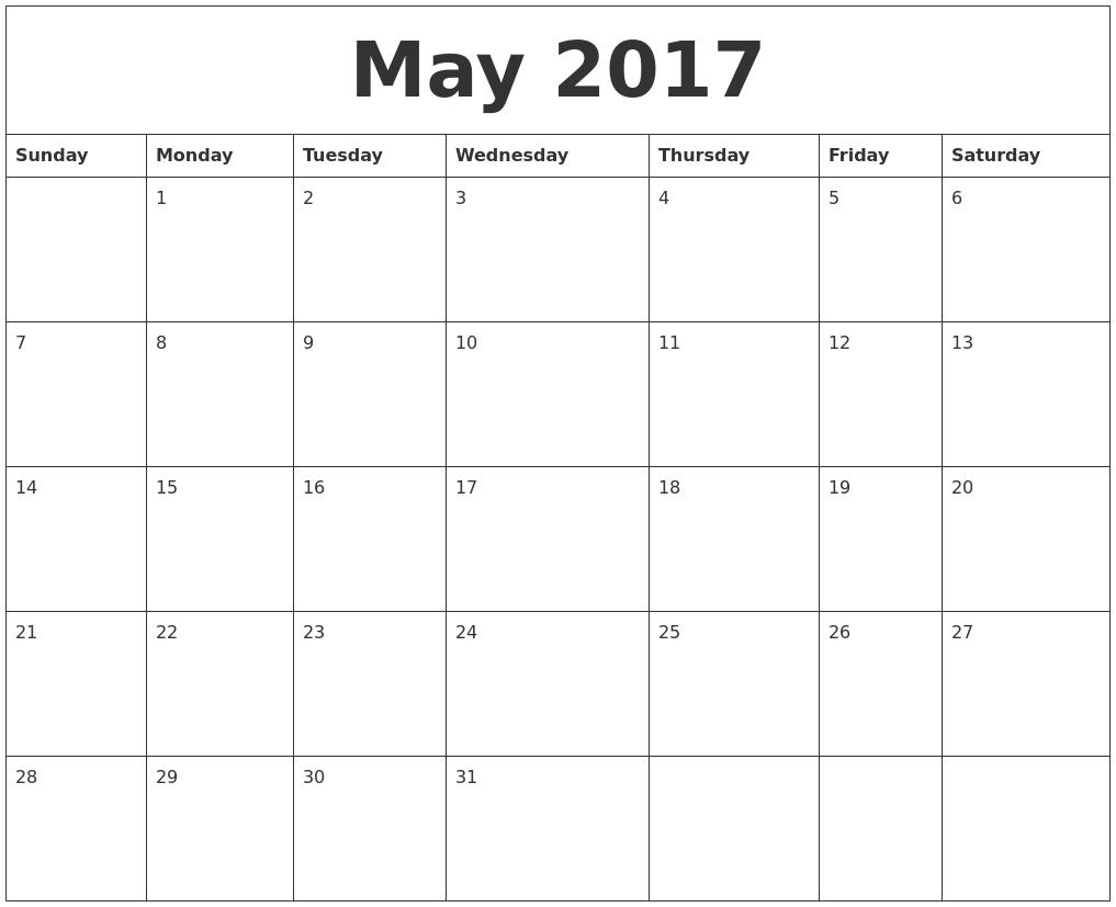 May Calendar In Word : May word calendar