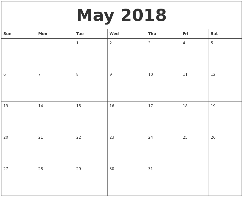 May 2018 Blank Monthly Calendar Template