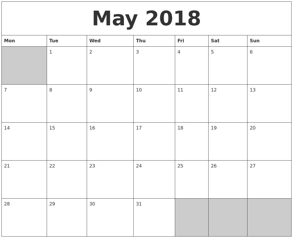 Calendar 2018 Printable A5
