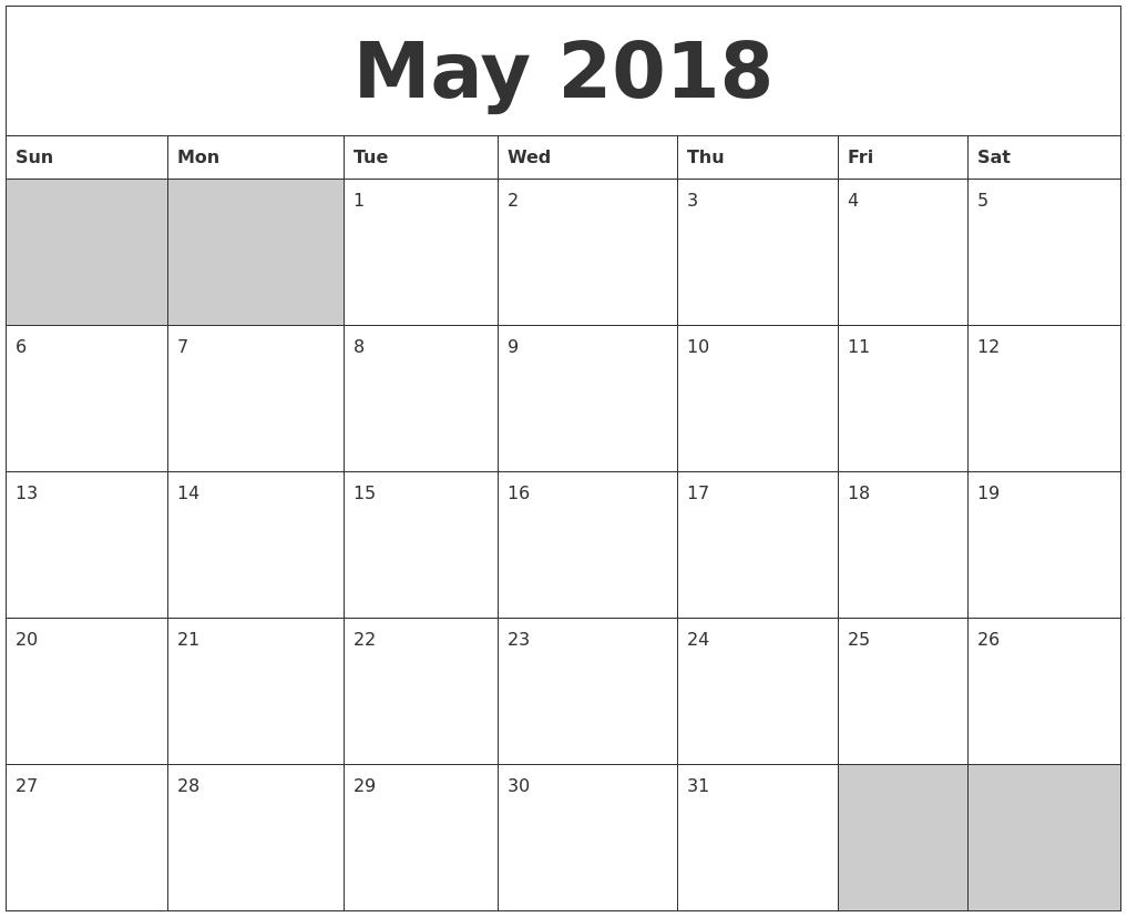 Blank Calendar May Printable : Blank may calendar free download printables