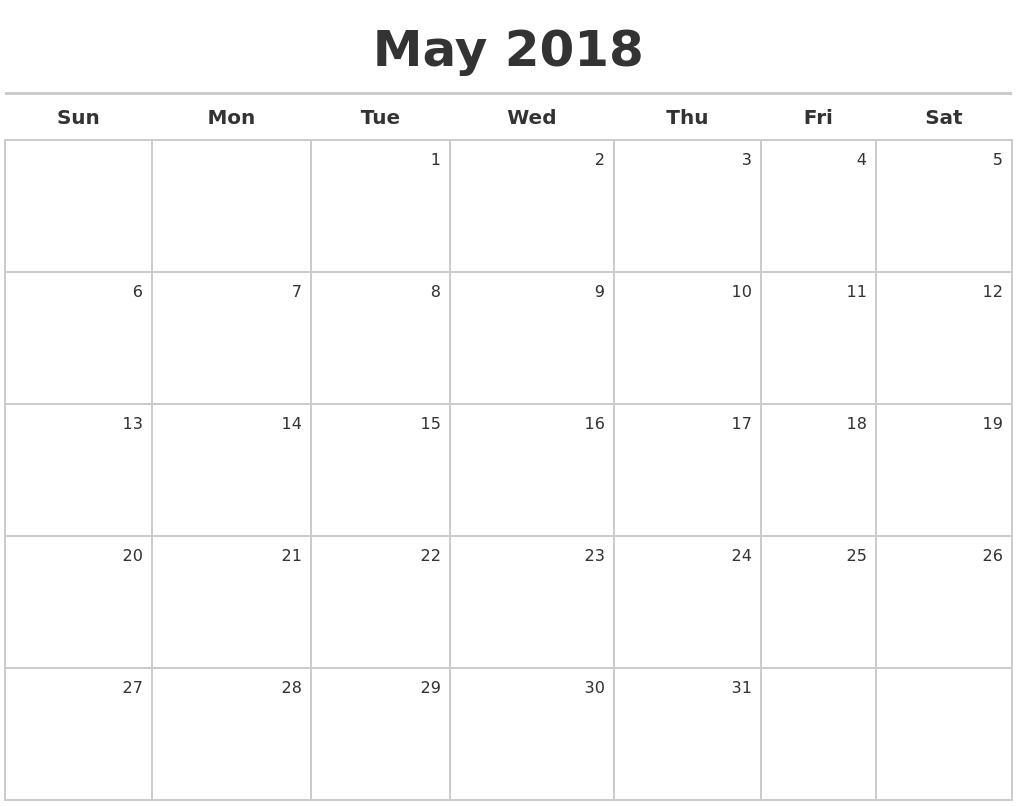 May 2018 Calendar Maker