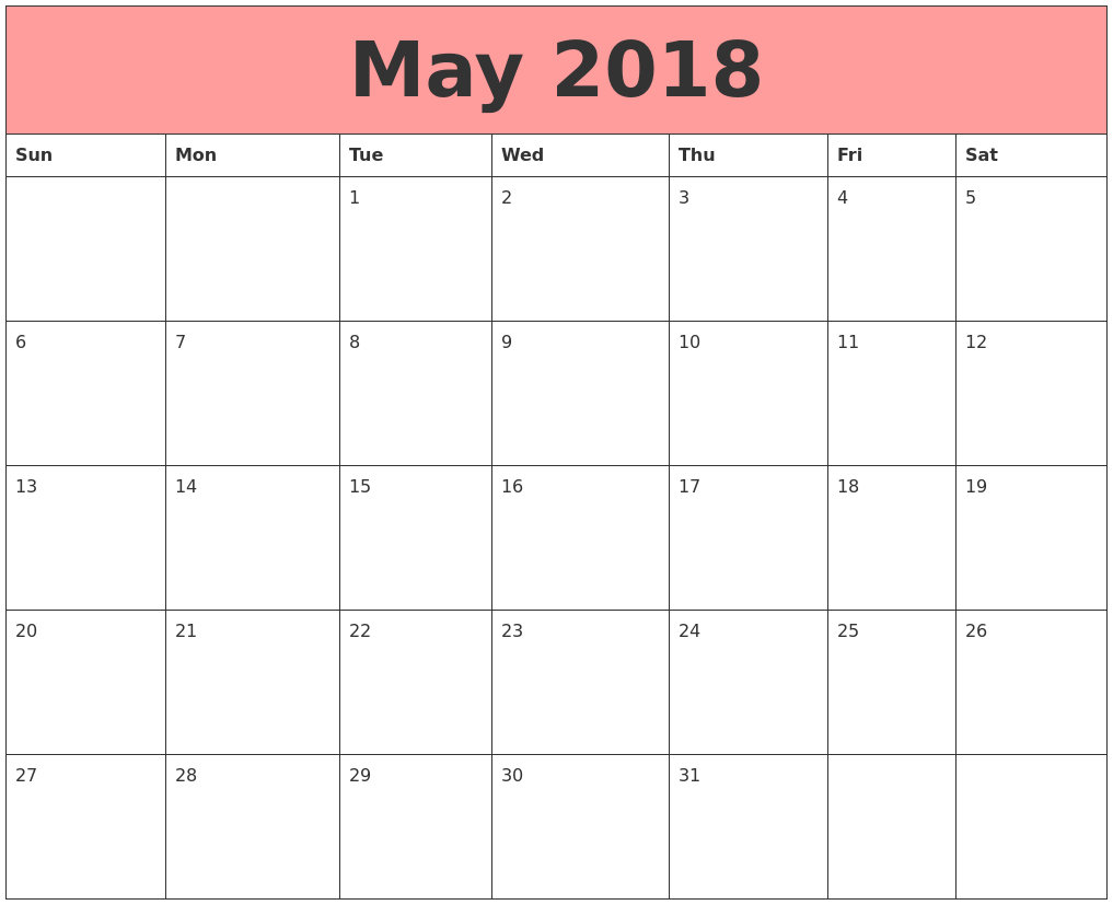 may 2018 calendars that work
