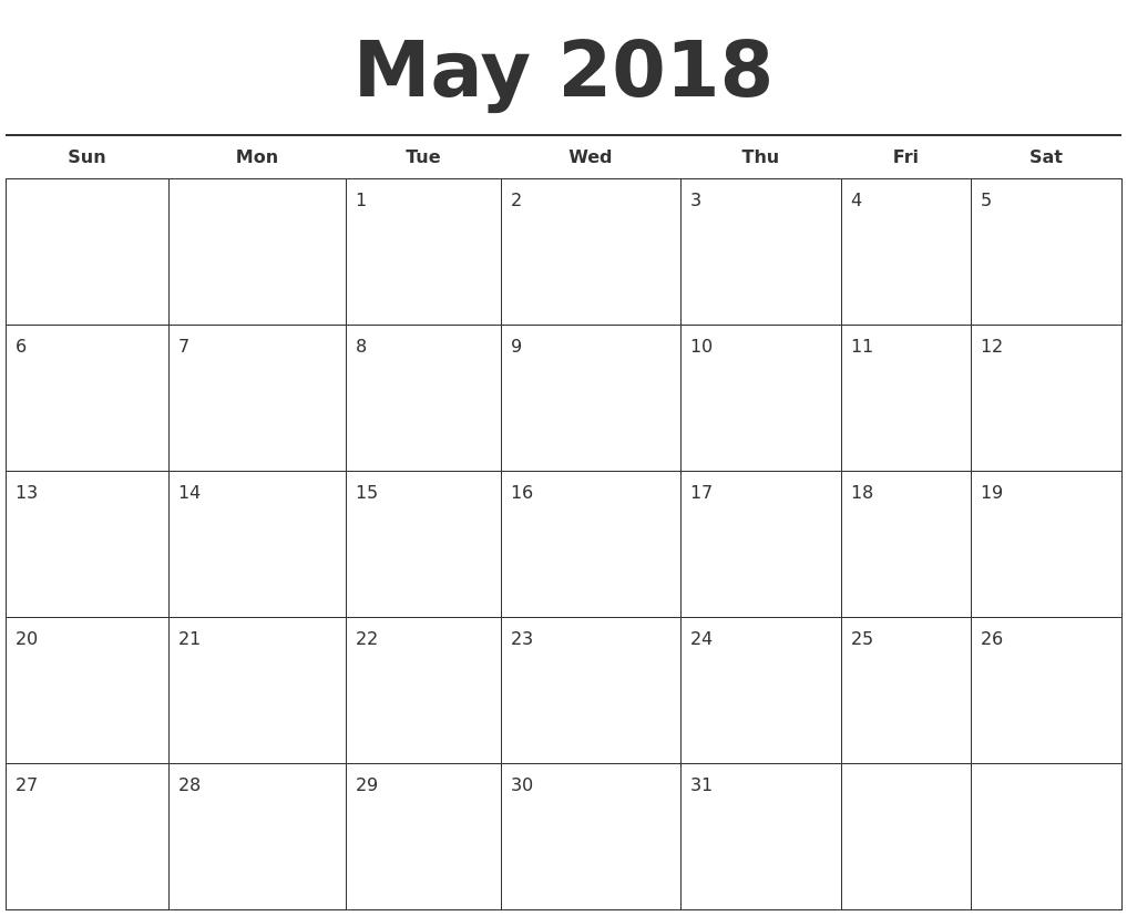 May 2018 Free Calendar Template