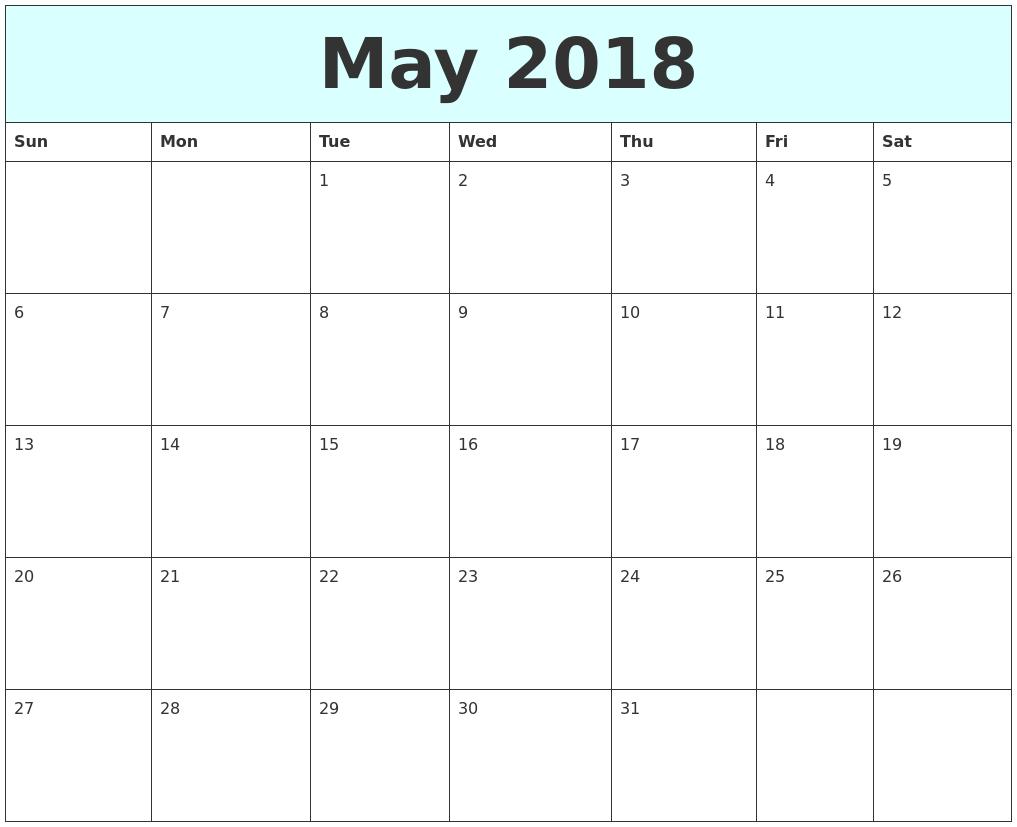 May 2018 Free Calendar