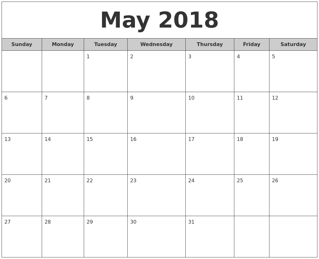 May Monthly Calendar : May free monthly calendar