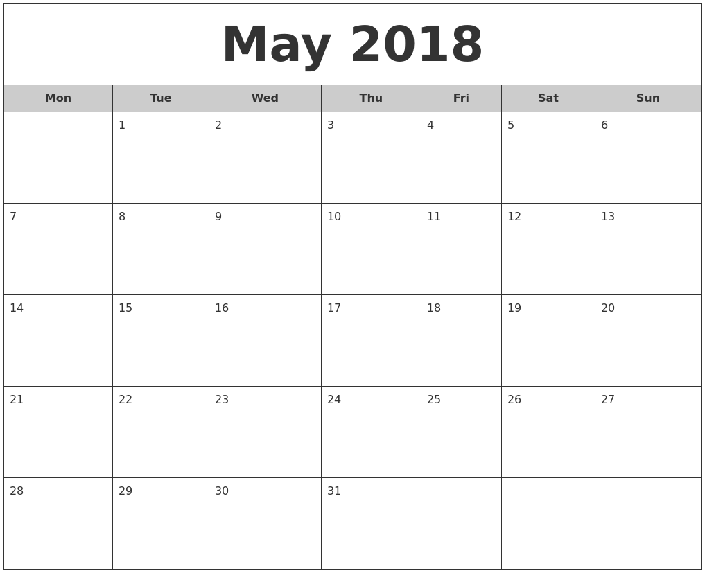Calendar May Monday : May free monthly calendar