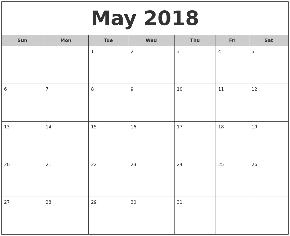 May 2018 Free Monthly Calendar