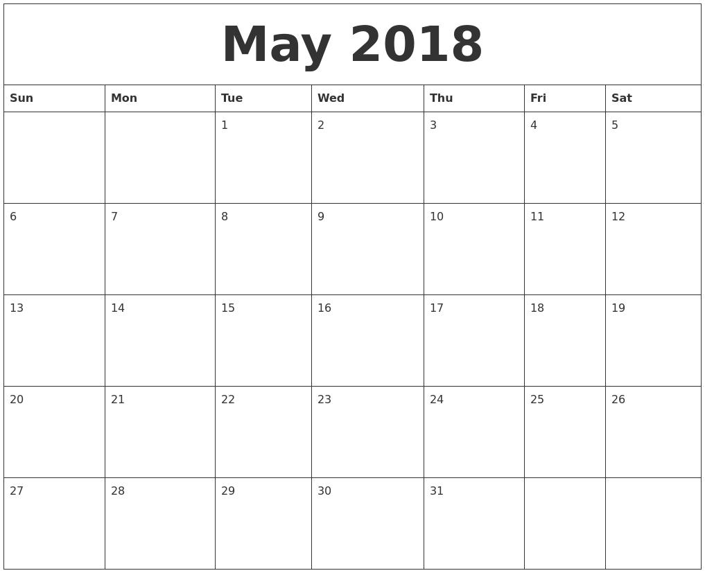 monthly calander 2018