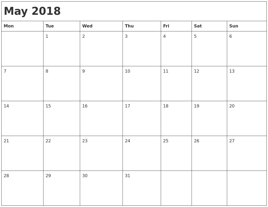 Calendar May Monday : May month calendar