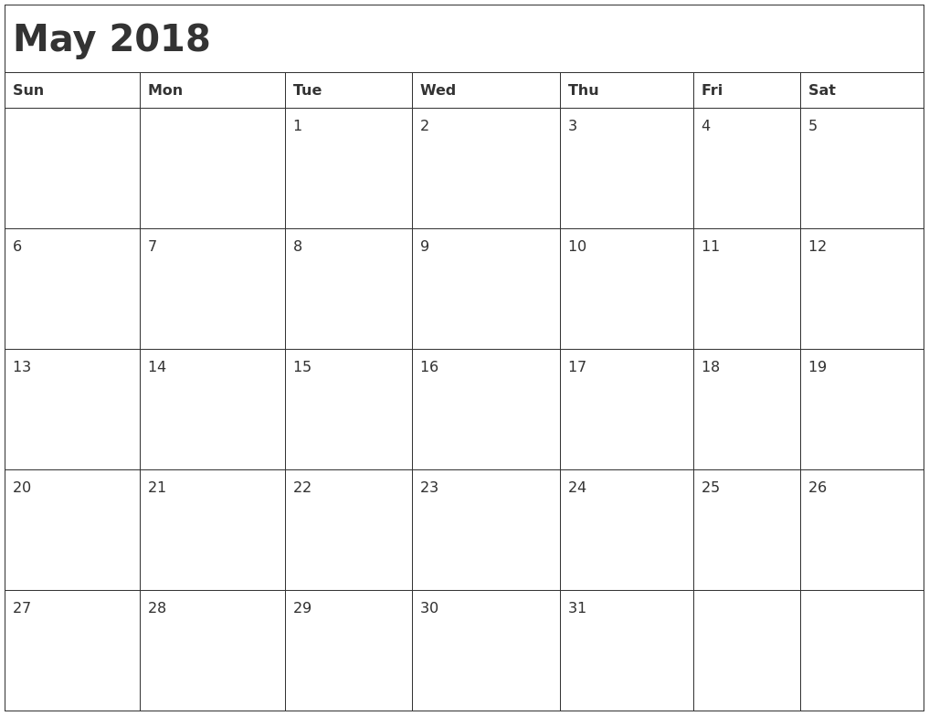 May 2018 Month Calendar