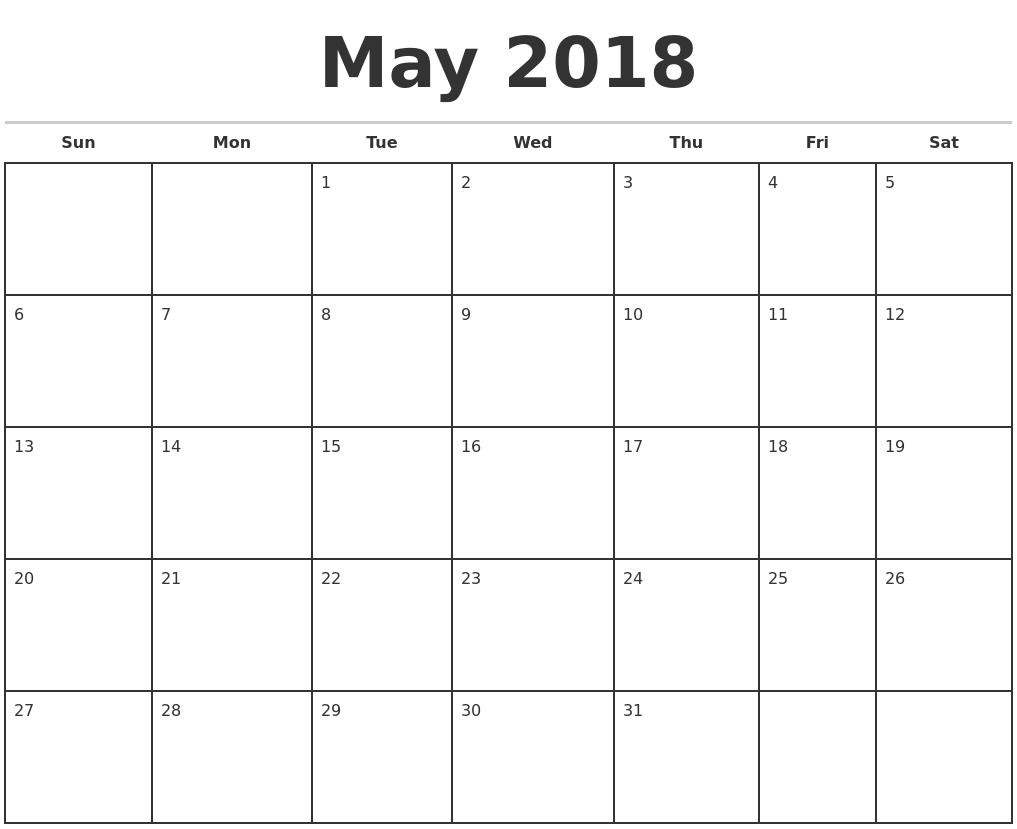 May 2018 Monthly Calendar Template