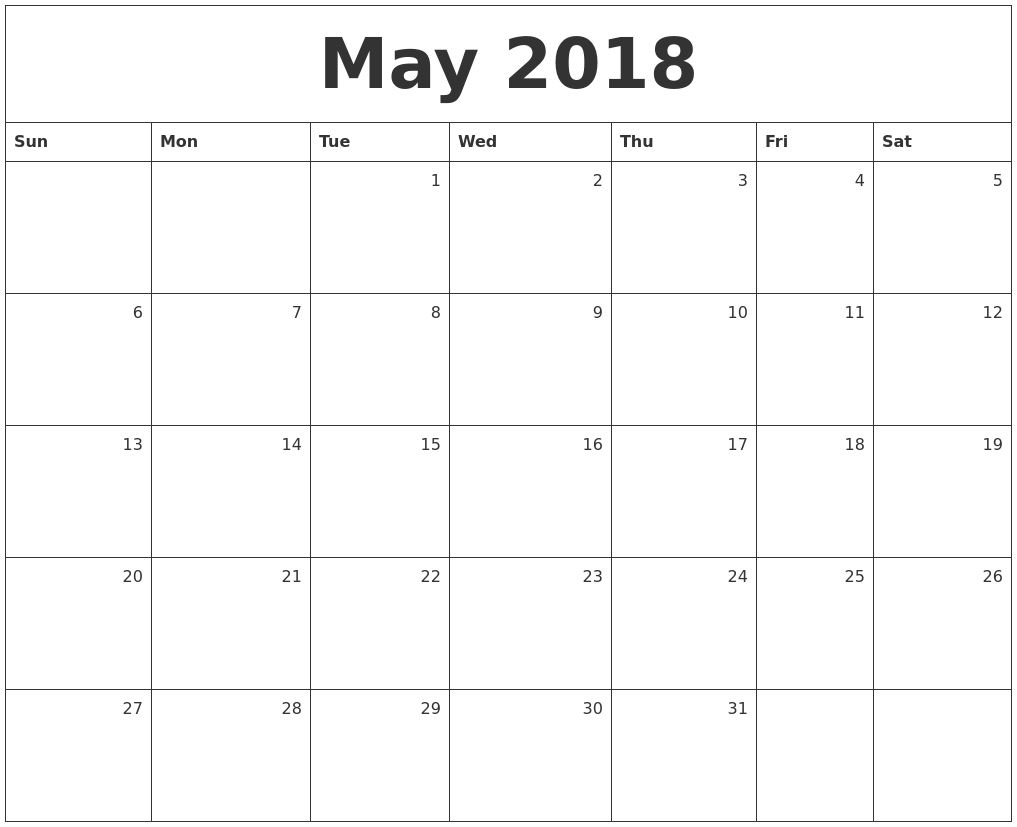 May 2018 Monthly Calendar