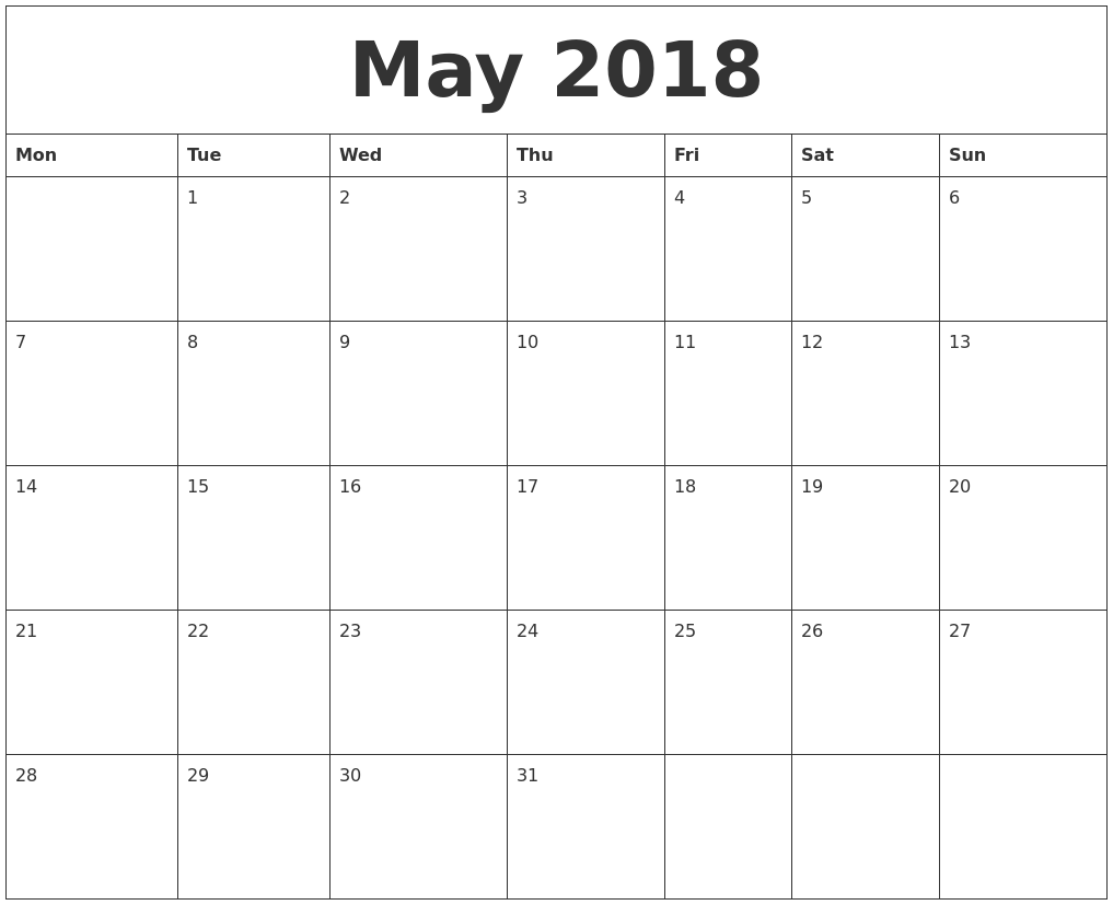 May 2018 Monthly Printable Calendar