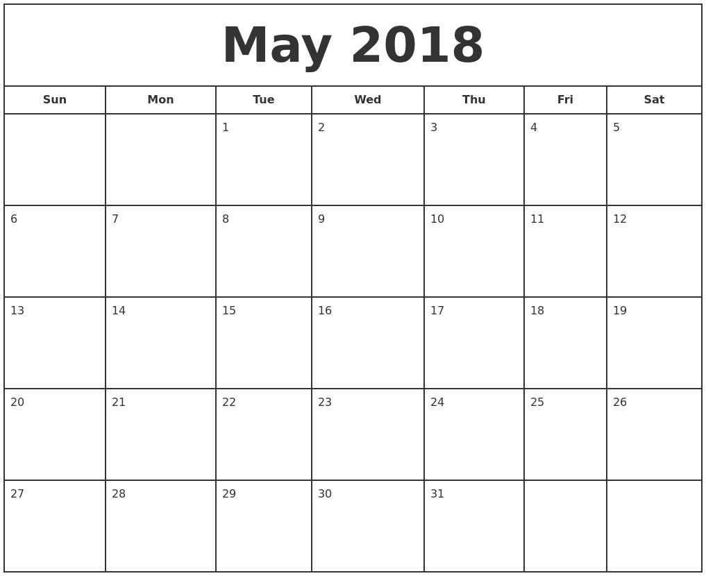 November 2018 Print A Calendar
