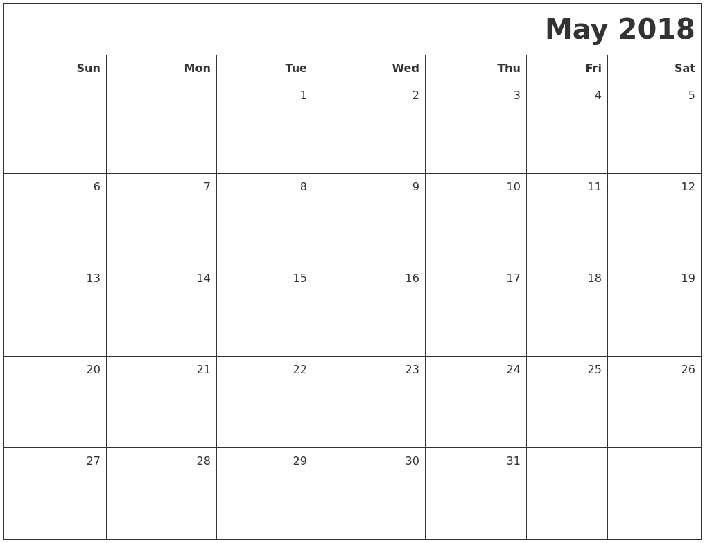 may 2018 calendar editable