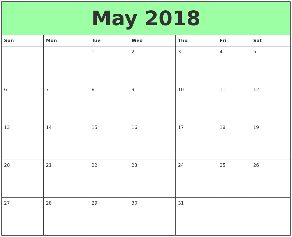 2018 calendar sheets