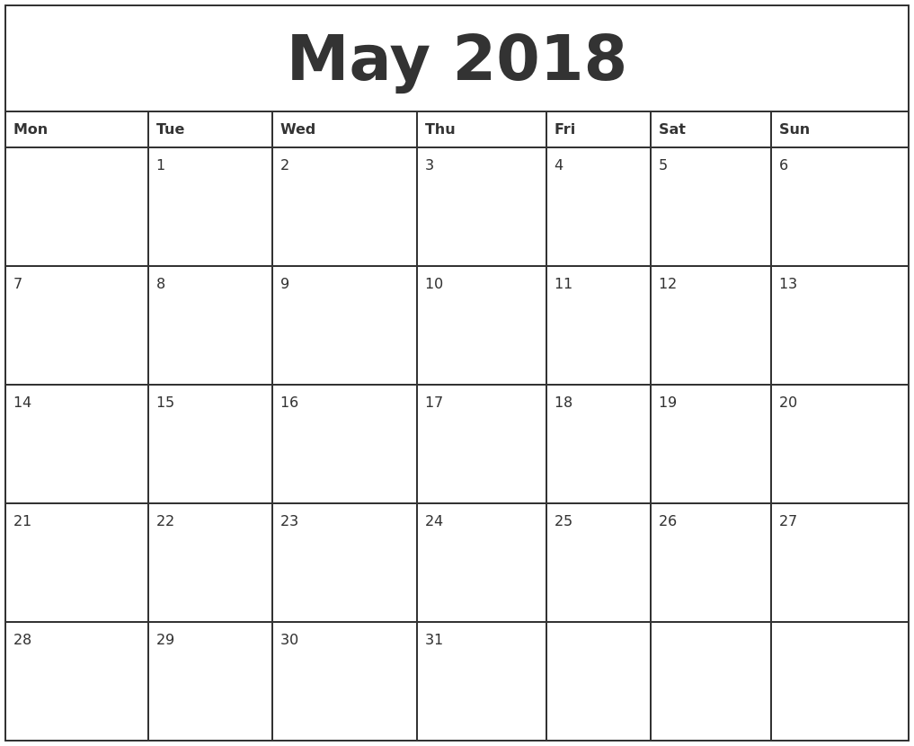 May 2018 Printable Monthly Calendar