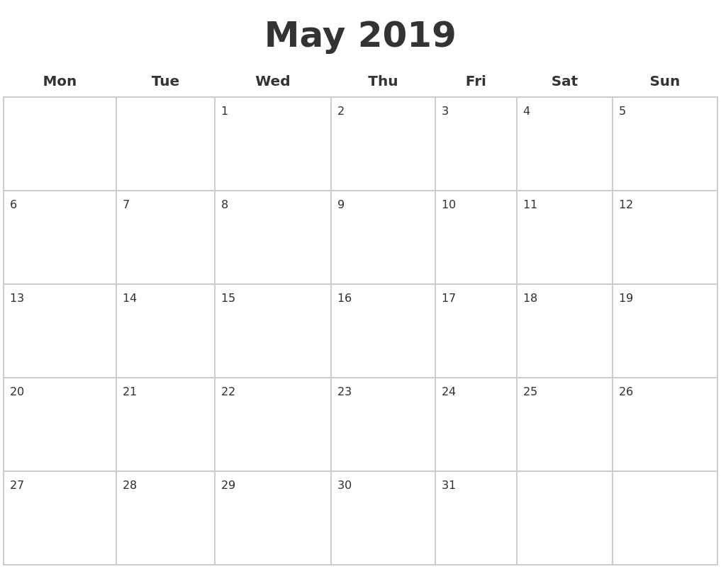 May 2019 Blank Calendar Pages