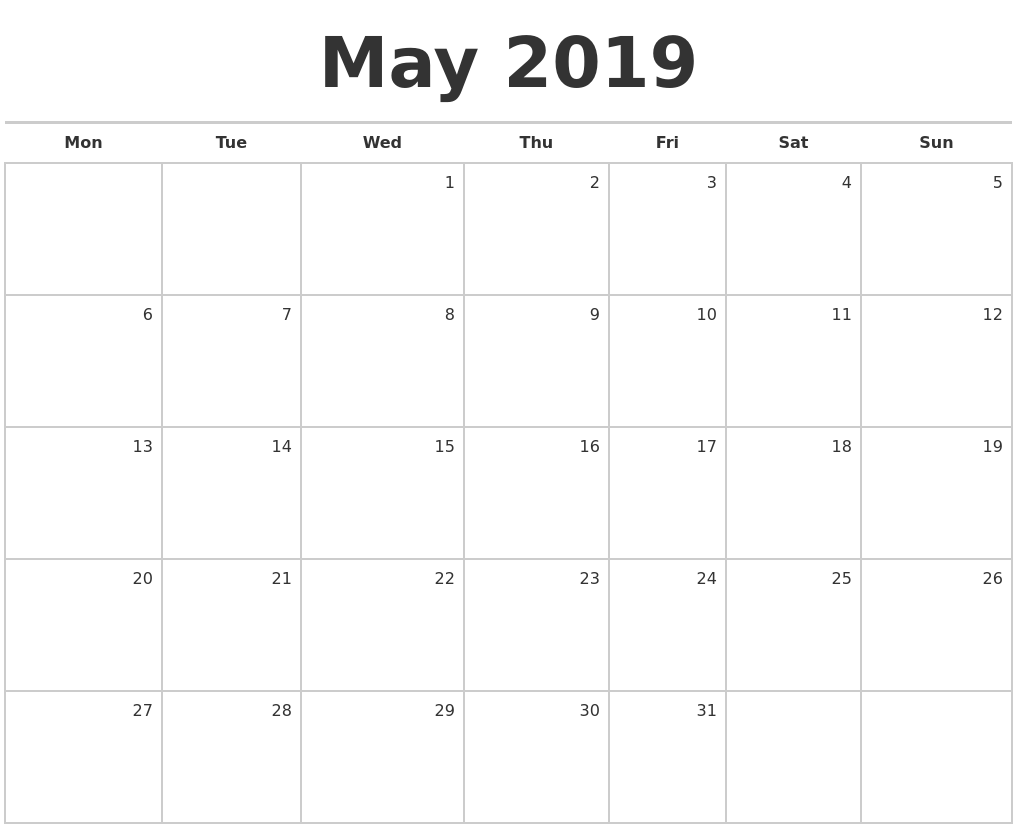May 2019 Blank Monthly Calendar PDF's