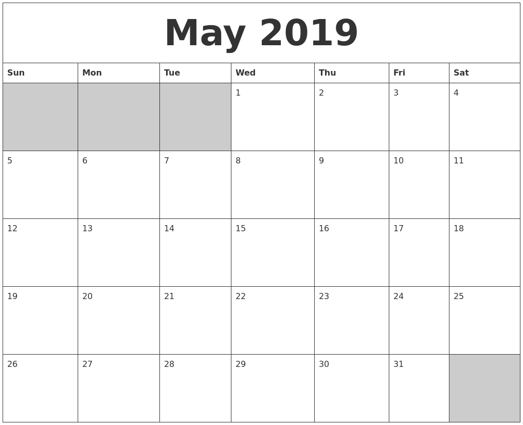 Blank Calendar Of May : May blank printable calendar