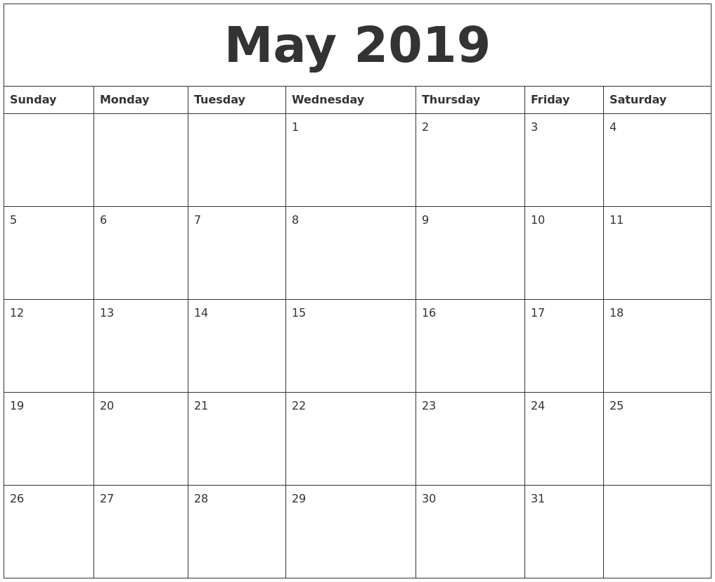 May 2019 Calendar Monthly