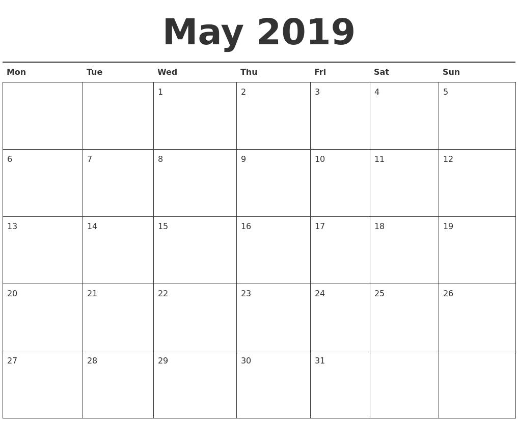 Calendar May Monday : May calendar printable