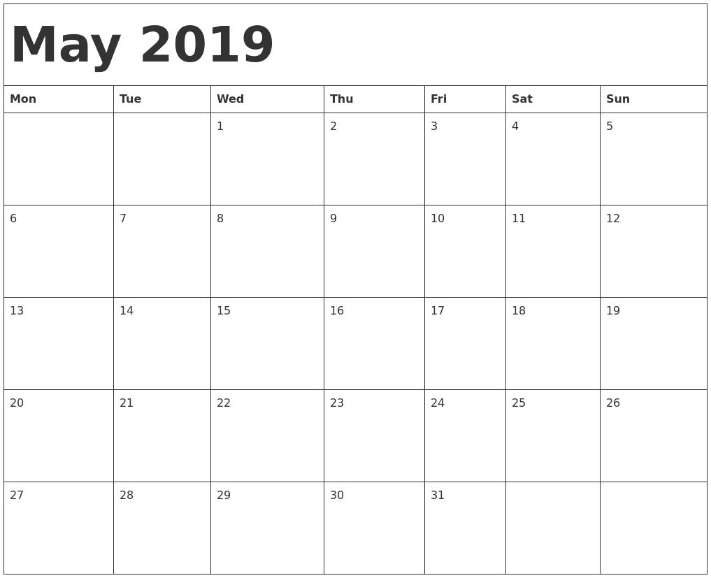 May 2019 Calendar Template