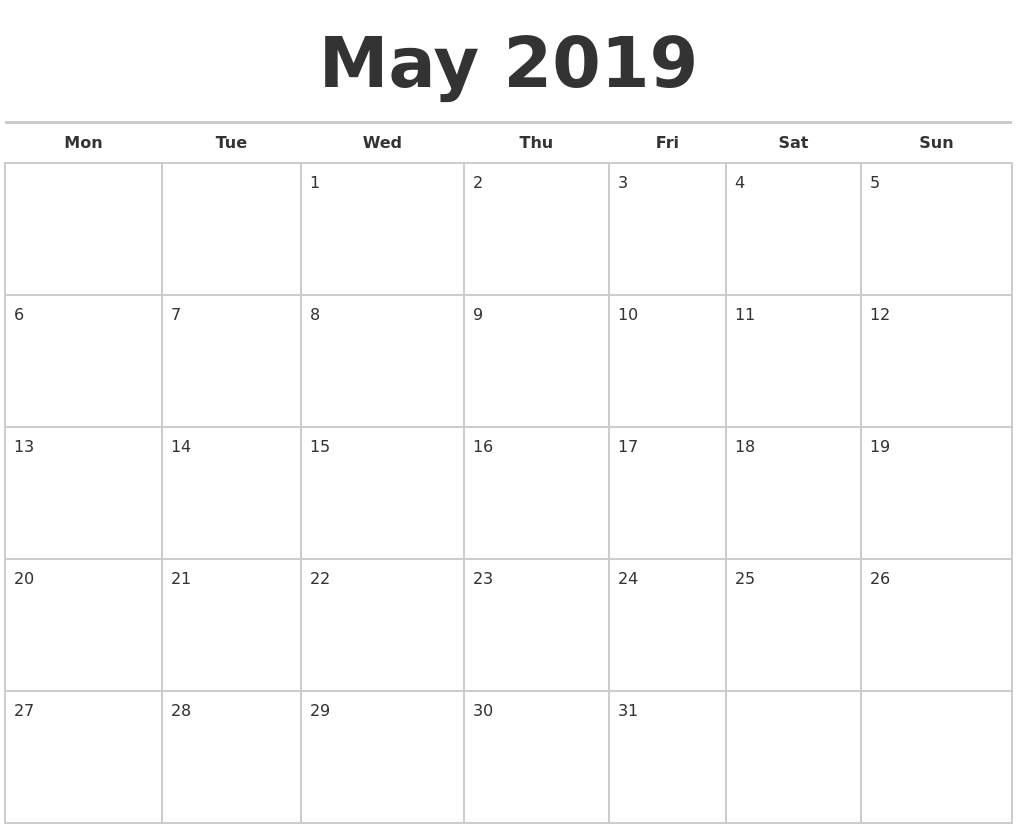 Calendar May Monday : May calendars free