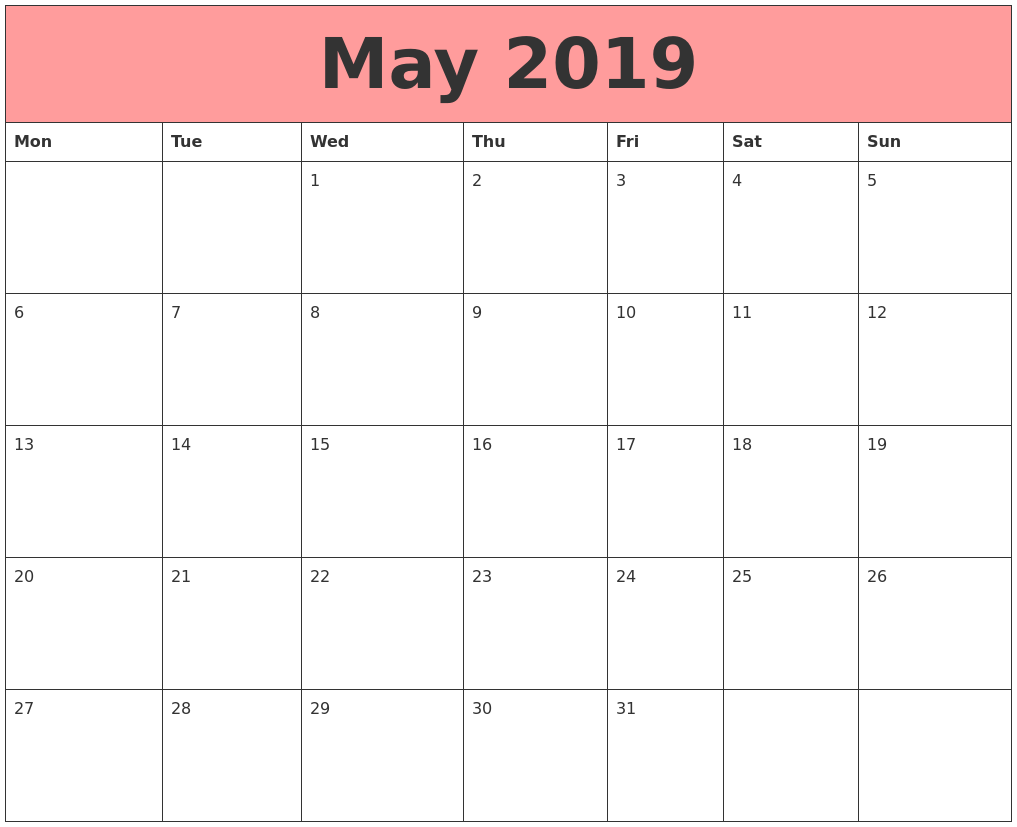 May 2019 Calendars That Work