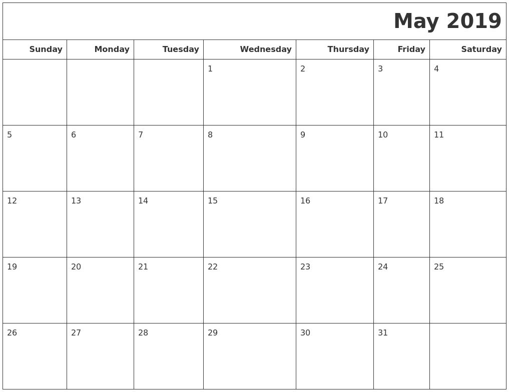 May 2019 Calendars To Print PDF's