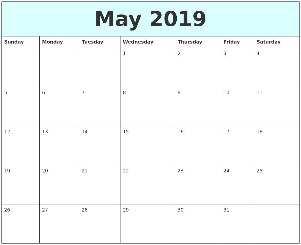 May 2019 Free Calendar